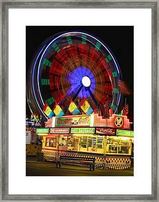 Vacant Carnival Bench Framed Print