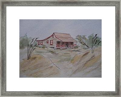 Framed Print featuring the painting Vacation Cottage - Kitty Hawk by Joel Deutsch