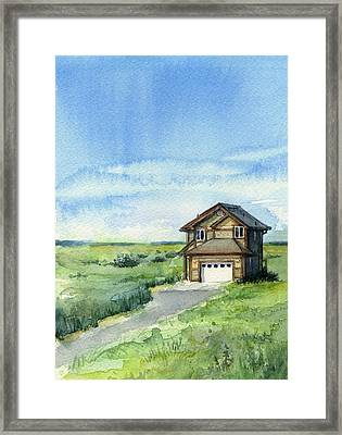 Vacation House In A Field - Watercolor - Long Beach, Wa Framed Print by Olga Shvartsur