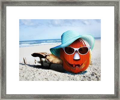 Vacationing Jack-o-lantern Framed Print