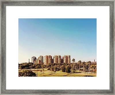 Valencia City Skyline In Spain Framed Print