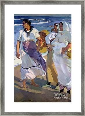 Valencian Fisherwomen Framed Print by Joaquin Sorolla y Bastida