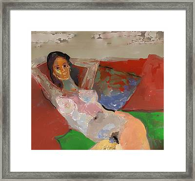 Valentina Model Nude In Relax Framed Print by Carlos Camus