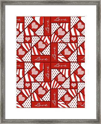 Framed Print featuring the digital art Valentine 4 Square Quilt Block by Methune Hively