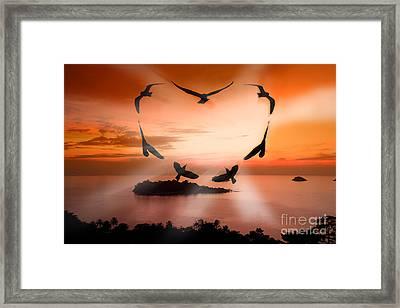 Valentine Bird Framed Print by Anek Suwannaphoom