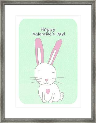 Valentine Bunny- Art By Linda Woods Framed Print
