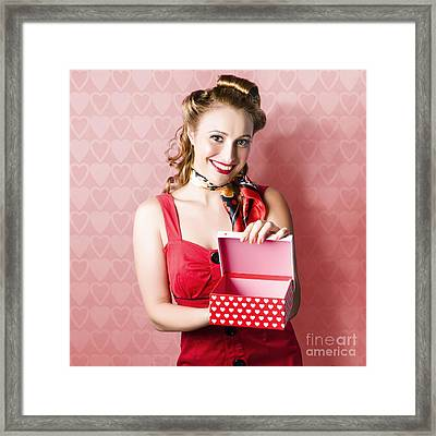 Valentine Day Woman With Red Heart Gift From Lover Framed Print