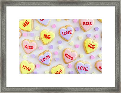 Framed Print featuring the photograph Valentine Heart Cookies by Teri Virbickis