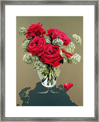 Valentine Roses Framed Print by Ora Sorensen