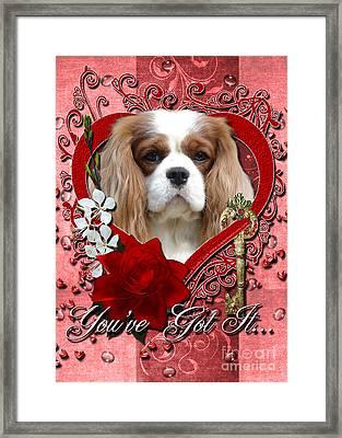 Valentines - Key To My Heart Cavalier King Charles Spaniel Framed Print by Renae Laughner