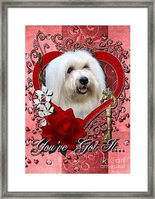 Valentines - Key To My Heart Coton De Tulear Framed Print by Renae Laughner