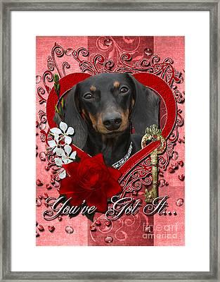 Valentines - Key To My Heart Dachshund Framed Print by Renae Laughner