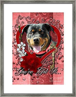 Valentines - Key To My Heart Rottweiler Framed Print by Renae Laughner