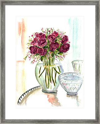 Valentines Crystal Rose Framed Print