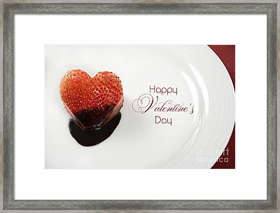 Valentines Day Heart Shape Red Strawberry Dipped In Dark Chocolate Framed Print by Milleflore Images