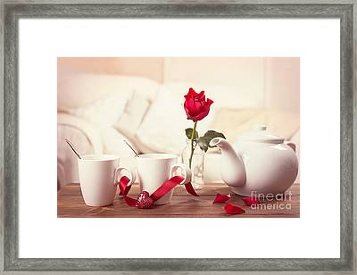 Valentines Day Tea Cups Framed Print by Amanda Elwell