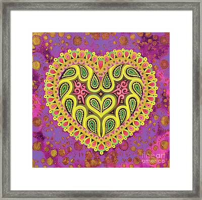 Valentine's Folk Heart On Pink Framed Print