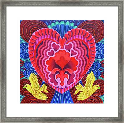 Valentine's With Birds Framed Print by Jane Tattersfield