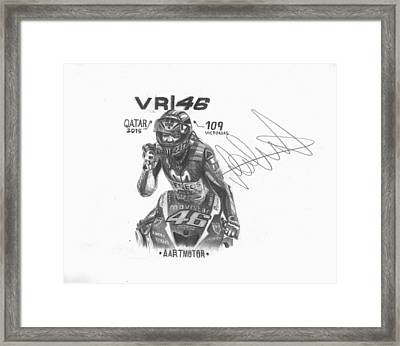 Valentino Rossi Drawing Sign Framed Print by Adrian Lopez Lozano