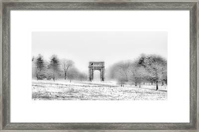 Valley Forge Arch In Black And White - Winter Scene  Framed Print by Bill Cannon
