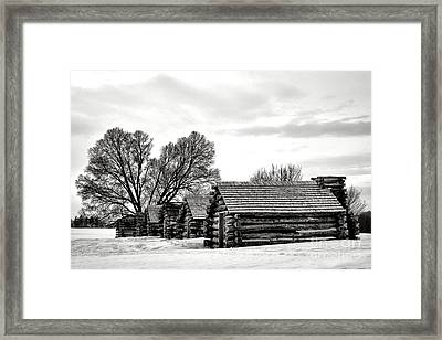 Valley Forge Barracks In Winter  Framed Print