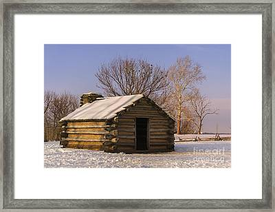 Valley Forge Cabin At Sunset Framed Print by Rima Biswas