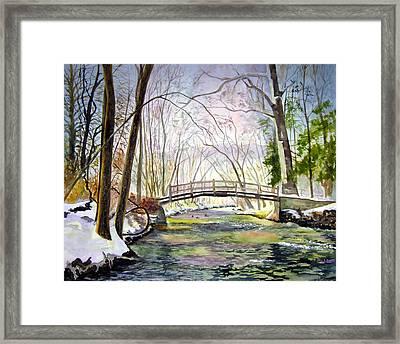 Valley Forge Footbridge Framed Print by Paul Temple