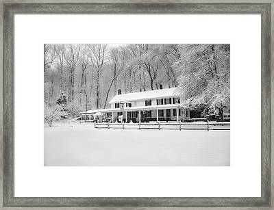 Valley Green Snowfall In Black And White Framed Print