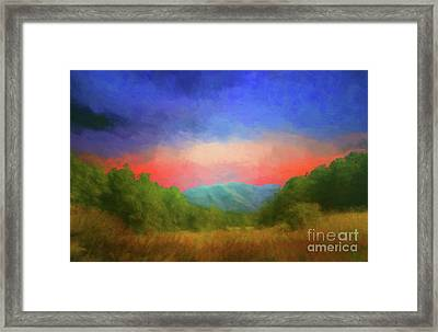 Valley In The Cove Framed Print by Geraldine DeBoer