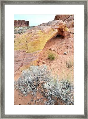 Framed Print featuring the photograph Valley Of Fire Arch Of Color by Ray Mathis