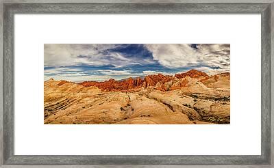 Valley Of Fire Panorama Framed Print by Rikk Flohr