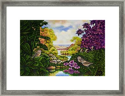 Framed Print featuring the painting Valley Of The Sparrows by Michael Frank