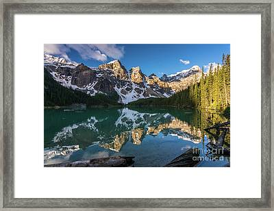 Valley Of The Ten Peaks Lake Moraine Framed Print by Mike Reid
