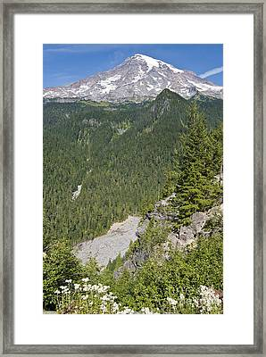 Valley View Of Mt. Rainier Framed Print by Larry Keahey