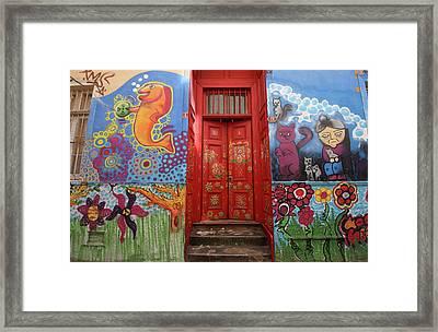 Red Door Of Flowers Framed Print