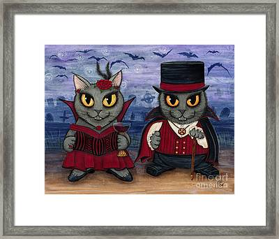Vampire Cat Couple Framed Print