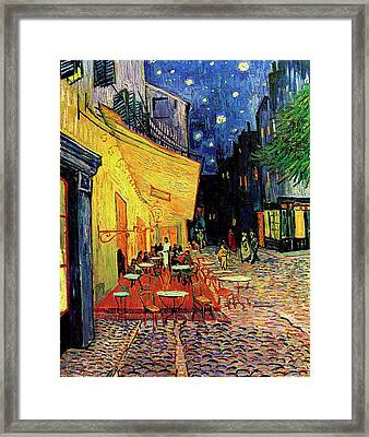Van Gogh Cafe Terrace Place Du Forum At Night Framed Print