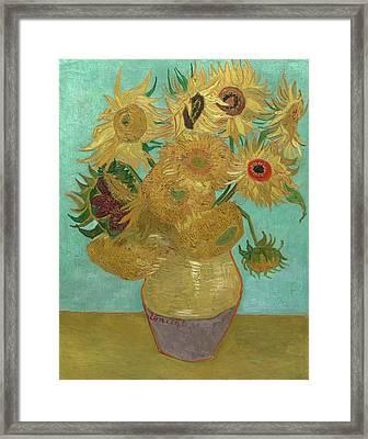 Van Gogh Vase With Twelve Sunflowers  Framed Print by Vincent Van Gogh
