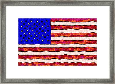 Van Gogh.s Starry American Flag Framed Print by Wingsdomain Art and Photography
