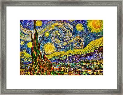 Van Gogh's 'starry Night' - Hdr Framed Print by Randy Aveille