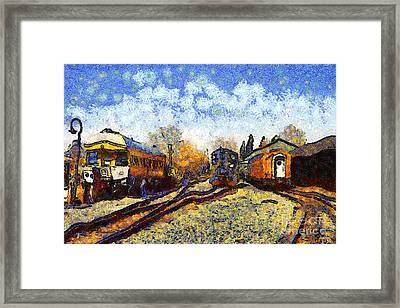 Van Gogh.s Train Station 7d11513 Framed Print by Wingsdomain Art and Photography
