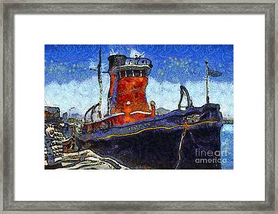 Van Gogh.s Tugboat . 7d14141 Framed Print by Wingsdomain Art and Photography