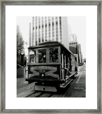 Van Ness And Market Cable Car- By Linda Woods Framed Print