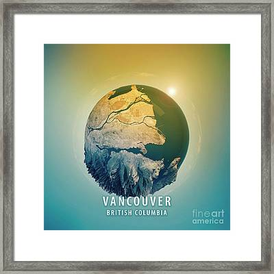 Vancouver 3d Little Planet 360-degree Sphere Panorama Framed Print by Frank Ramspott