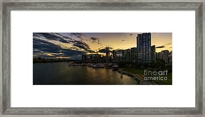 Vancouver At Night Framed Print by Viktor Birkus