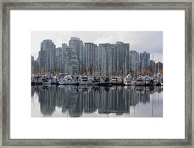 Vancouver Bc - Boats And Condos Framed Print