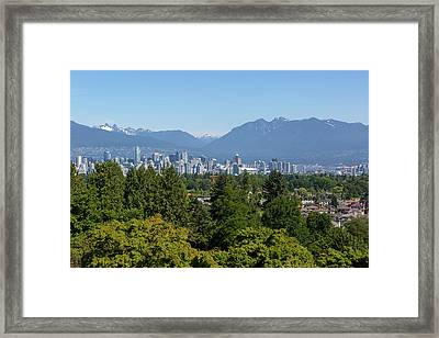 Vancouver Bc City Skyline From Queen Elizabeth Park Framed Print by David Gn