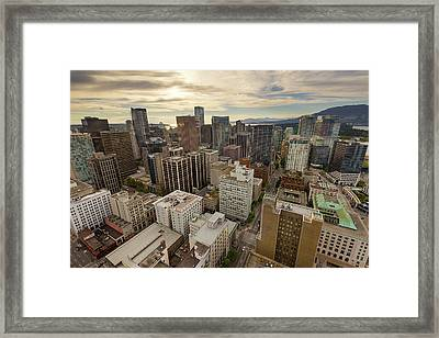 Vancouver Bc Cityscape Aerial View Framed Print by David Gn