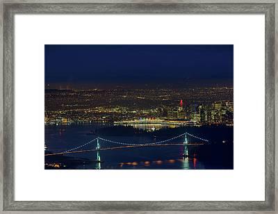 Vancouver Bc Cityscape By Lions Gate Bridge Framed Print