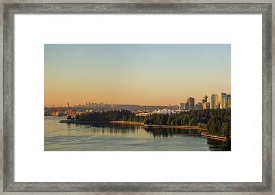 Vancouver Bc Cityscape By Stanley Park Morning View Framed Print by David Gn
